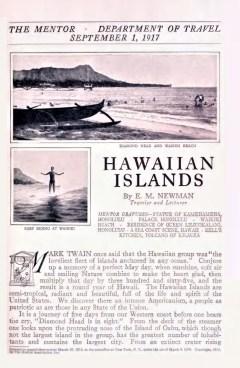 THE MENTOR - HAWAIIAN ISLANDS - September 1, 1917