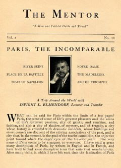 THE MENTOR - PARIS, THE INCOMPARABLE - 1913