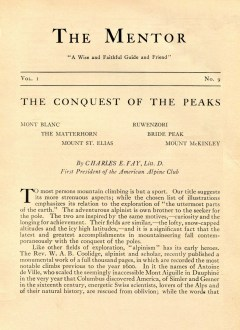 THE MENTOR - THE CONQUEST OF THE PEAKS - 1913