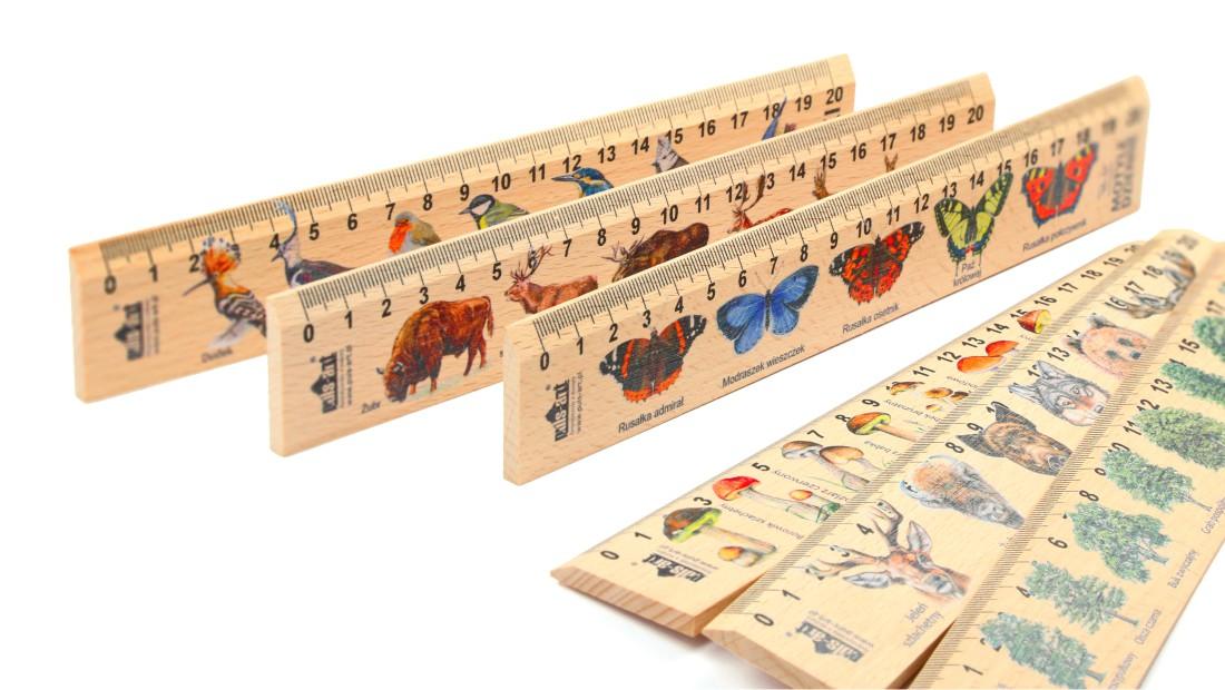 Linijki drewniane 20cm z nadrukiem (ilustracją, personalizacją)