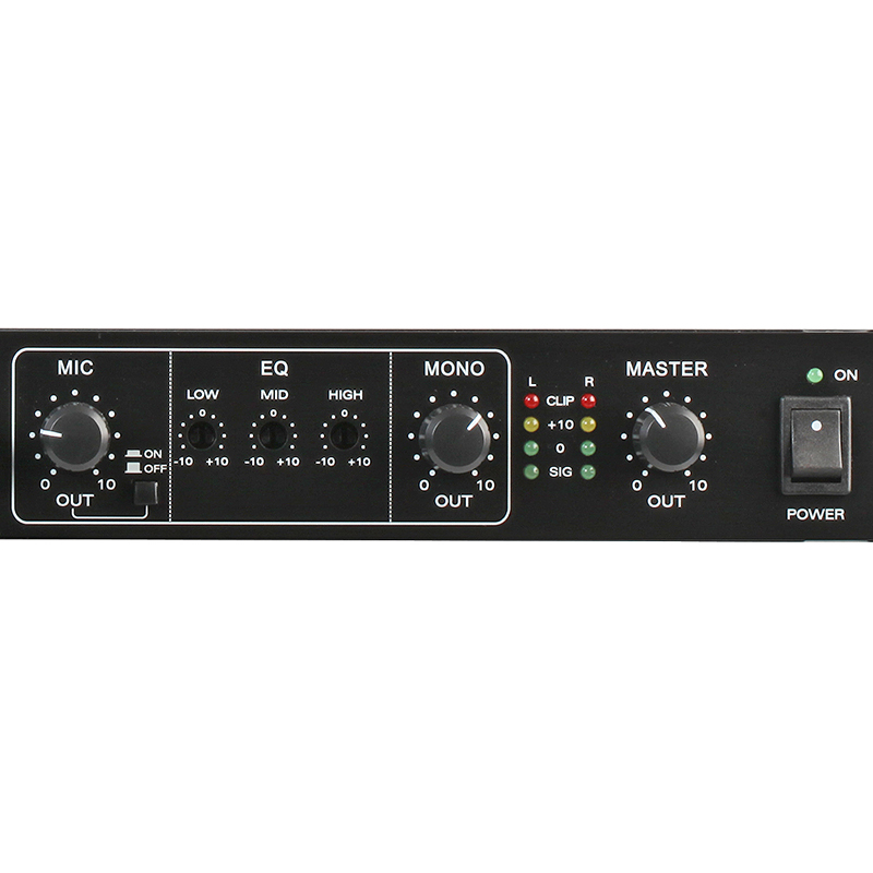 1u 12 channel mic line rack mixer with priority pulse