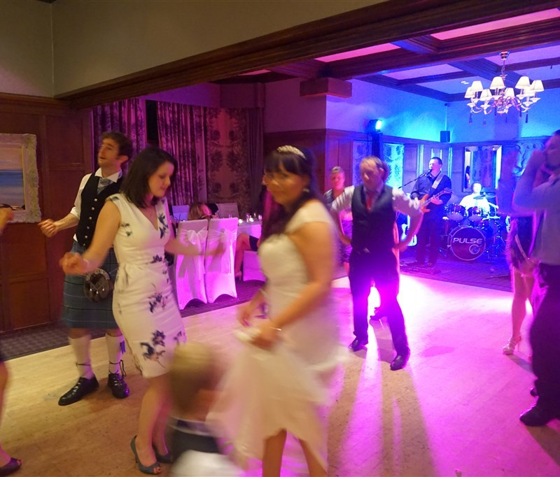 Pulse wedding Band Ayrshire - guests on dancefloor at Piersland House, Troon