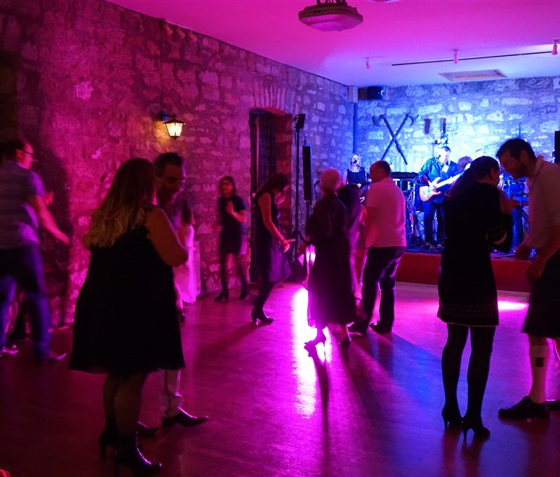 Pulse wedding band in Culcreuch Castle Fintry near Glasgow people dancing on busy dance floor with band in background