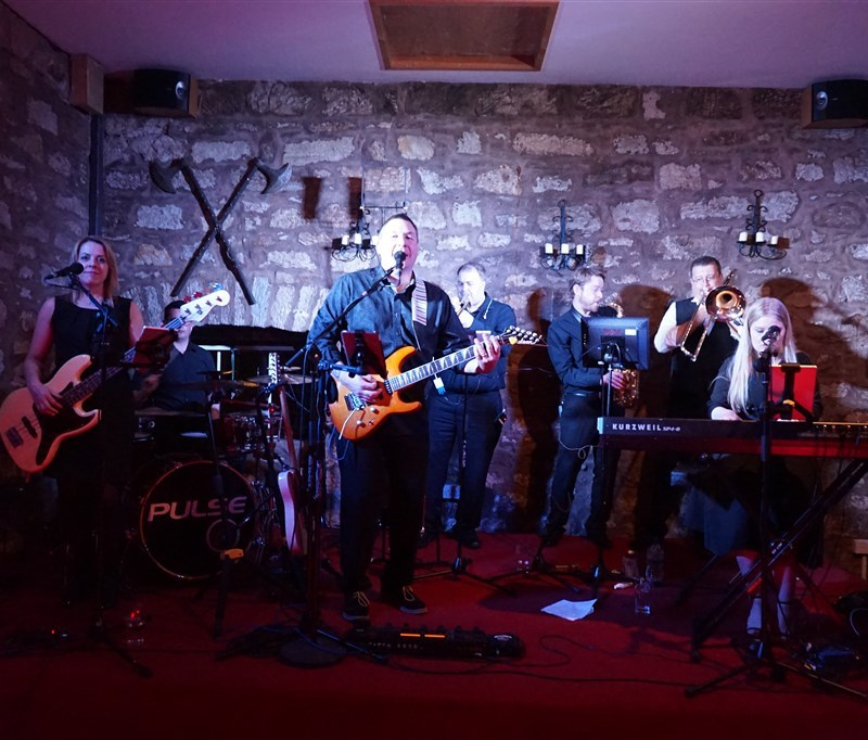 Pulse wedding band on stage at Culcreuch Castle Fintry near Glasgow