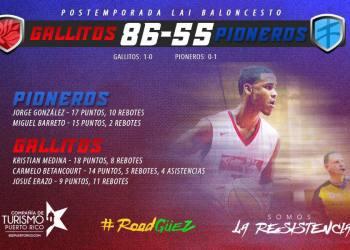 Gallitos vencen a Pioneros en el primer duelo de cuartos de final