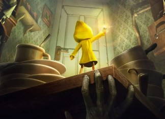 Little Nightmares en la cocina viendo la puerta