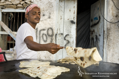 Making bread in city, Hawf Protected Area, Yemen