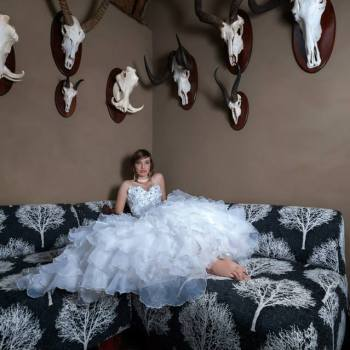 Pumba Private Game Reserve Weddings Bride Reclining On a Couch