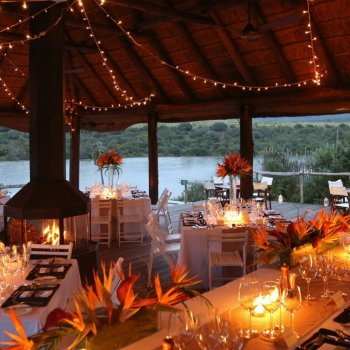 Pumba Private Game Reserve Weddings Water Lodge Reception Layout With Blazing Fire