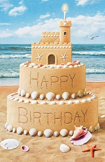Birthday Wishes Sand Castle Greeting Cards