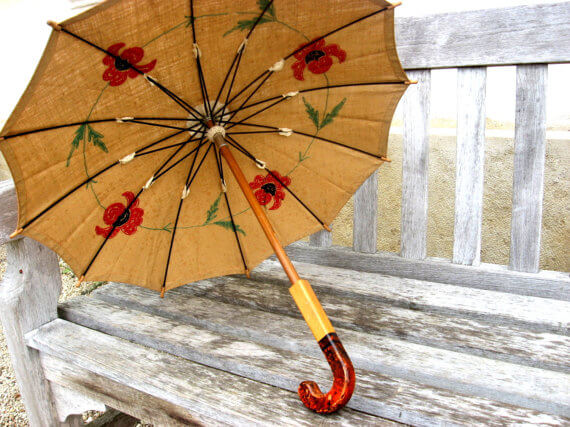 arts and crafts crewel embroidered parasol_Sold at PumpjackPiddlewick