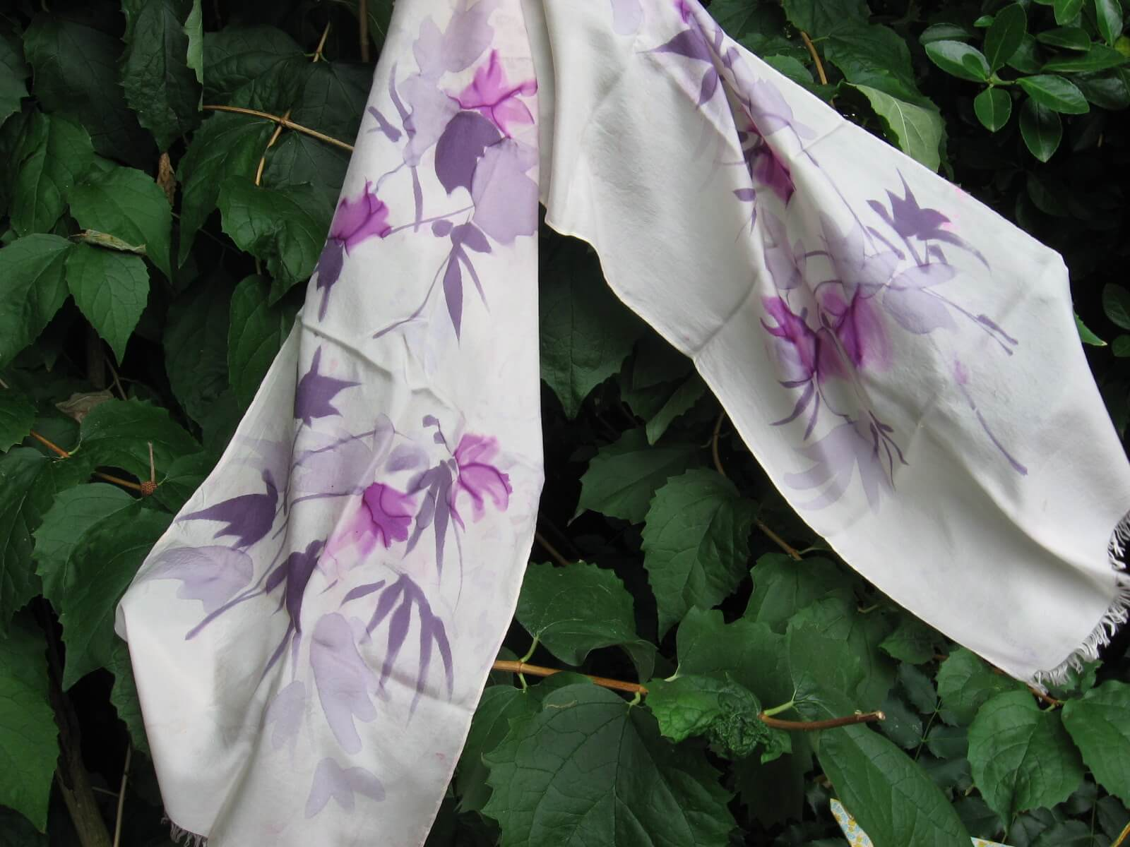 Purple hand painted flowers silk scarf at PumpjackPiddlewick