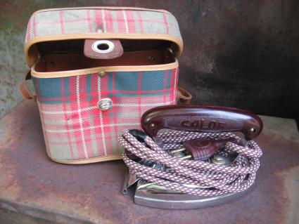 antique Calor iron in plaid case_D_PumpjackPiddlewick