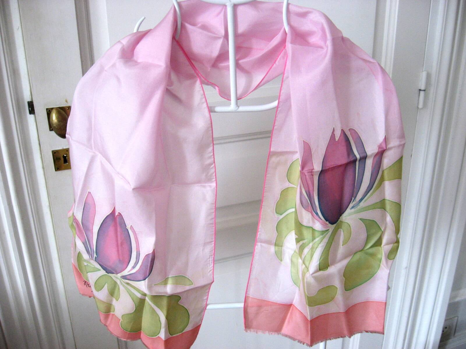 hand painted spring tulip scarf pink at PumpjackPiddlewick