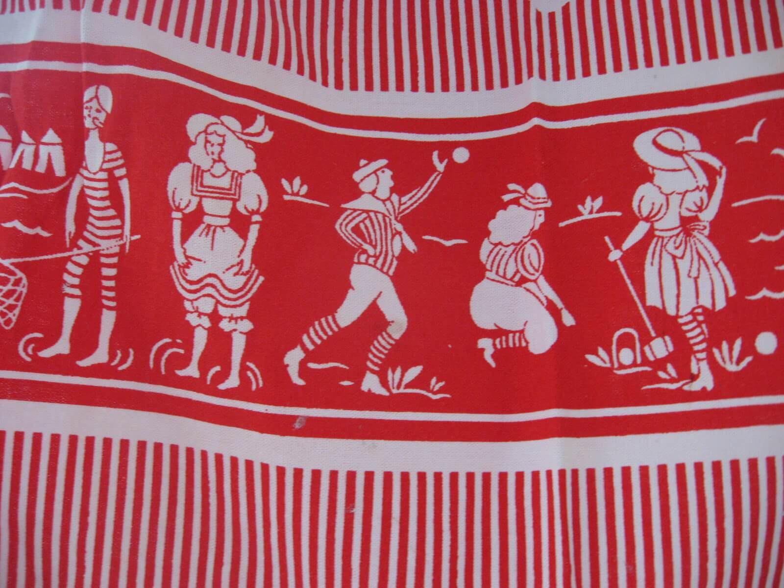 seaside country bygone pursuits red vintage apron at PumpjackPiddkewick