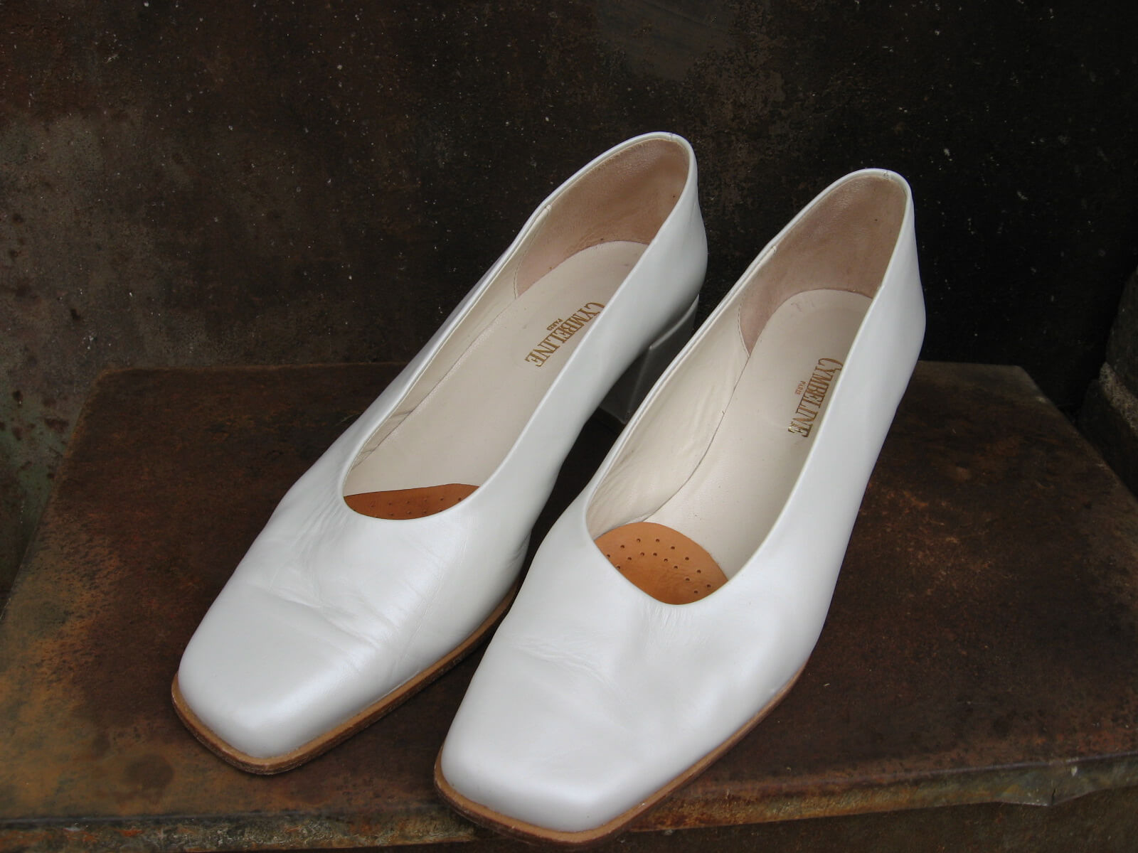 Cymbeline Paris Wedding Shoes white square toe at PumpjackPiddlewick