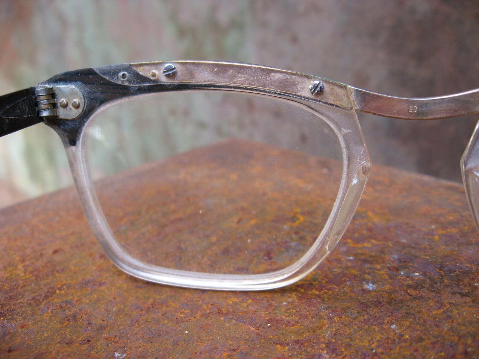 1950s browline black gold screw eye glasses_I_PumpjackPiddlewick