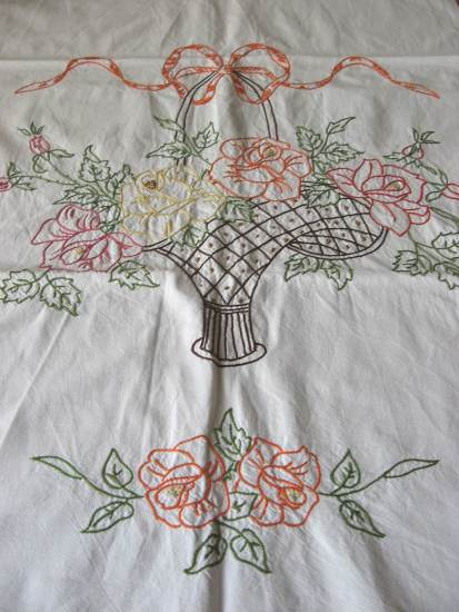 French cache torchon hand embroidered towel rail kitchen art at PumpjackPiddlewick