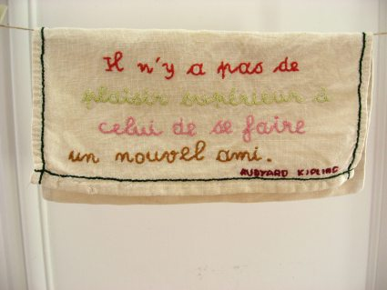 Rudyard Kipling embroidered linen envelope pocket at PumpjackPiddlewick