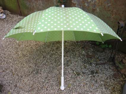 1960s Rodier umbrella green white polka dots at PumpjackPiddlewick