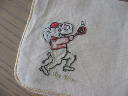 Elephant embroidered handkerchief at PumpjackPiddlewick