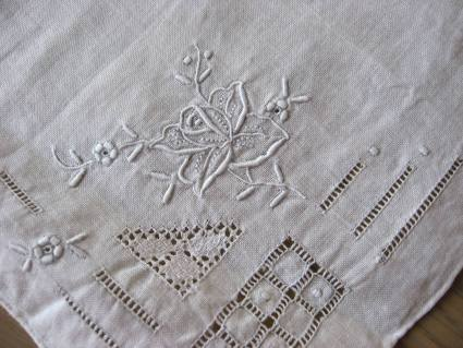 Embroidered Rose and squares handkerchief at PumpjackPiddlewick