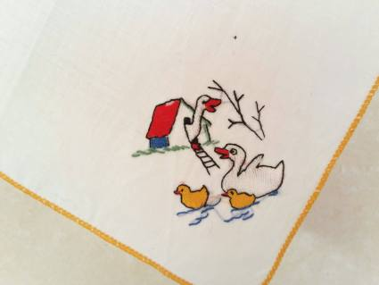 Duck family handkerchief embroidered French linen