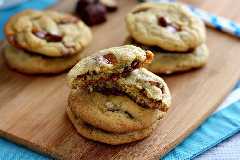 These Chewy Twix Cookies are soft and chewy, loaded with twix pieces and baked until they're slightly crispy on the edges but fluffy on the inside.