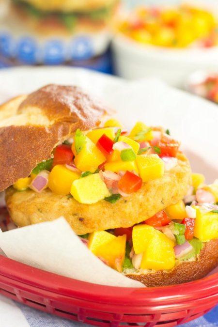 Alaskan Pollock Burgers with Peach Mango Salsa