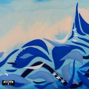 blauw golven detail appliqatie punchen vilt