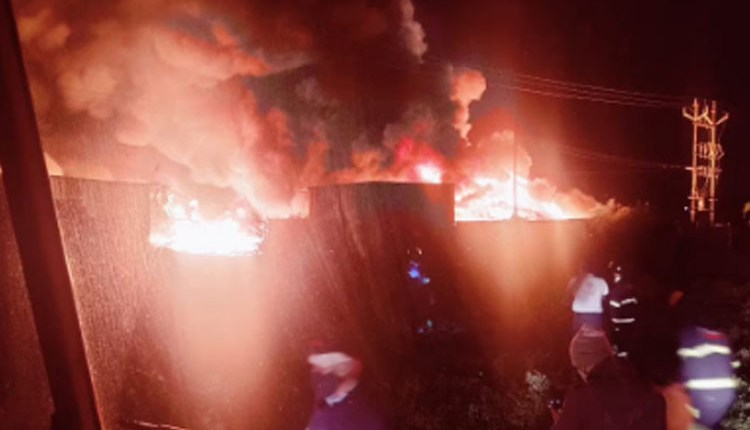 wagholi fire at the plastic waste godown