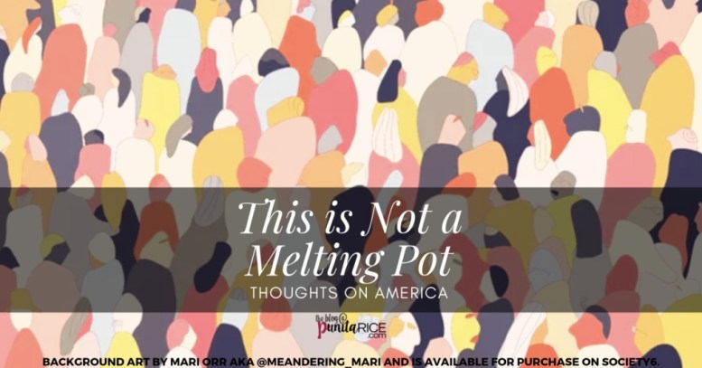"America is NOT a melting pot. This art is based on ""Crowded"" by Mari Orr (@meandering_mari), available on Society6."