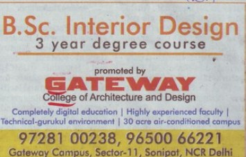 Bsc In Interior Design. Gateway College Of Architecture And Design Sonepat  Sonipat Ha