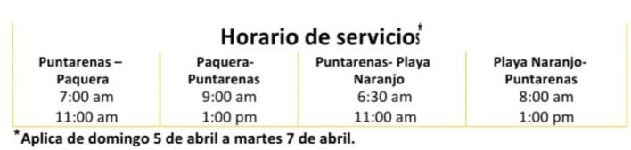 Horario de Ferrys en Puntarenas
