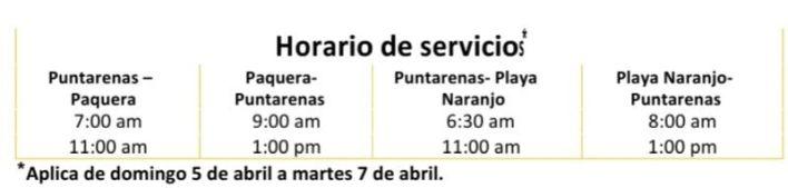 Horario de Semana Santa Ferrys