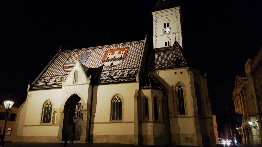 Chiesa di San Marco di notte, Zagabria