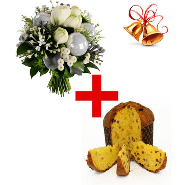 Consegna a domicilio bouquet con fiori bianchi e panettone online