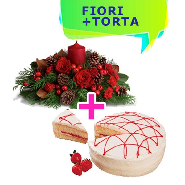 Consegna a domicilio centrotavola con candela rossa pinetti decorazioni natalizie fiori e torta con crema online