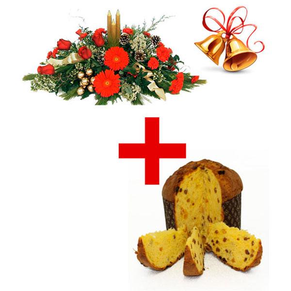 consegna a domicilio panettone natalizio e centrotavola natalizio con tre candele online