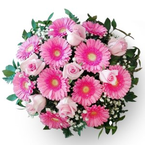 consegna a domicilio bouquet con rose rosa e gerbere rosa online