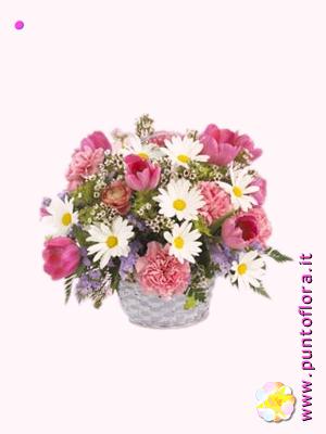 cestino con roselline rosa e margherite