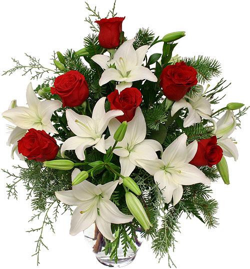 composizione con lilium bianchi rose rosse