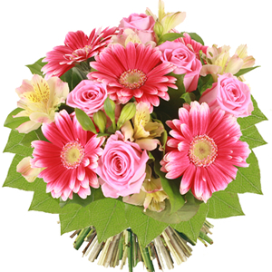 bouquet con rose rosa e gerbere rosa