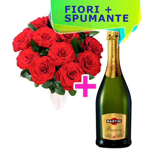 Consegna a domicilio 12 rose rosse e bottiglia di Prosecco online