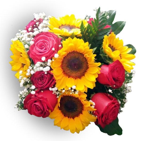bouquet con girasoli e rose rosse