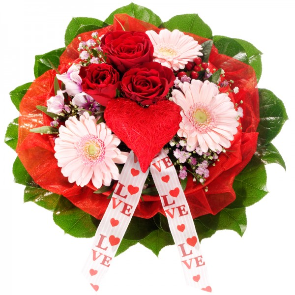 Bouquet con rose rosse e gerbere rosa