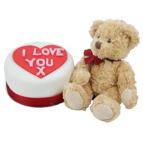 morbido orsacchiotto e torta con cuore e scritta I love you
