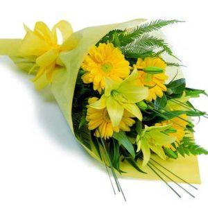 consegna a domicilio fascio con gerbere gialle e lilium online