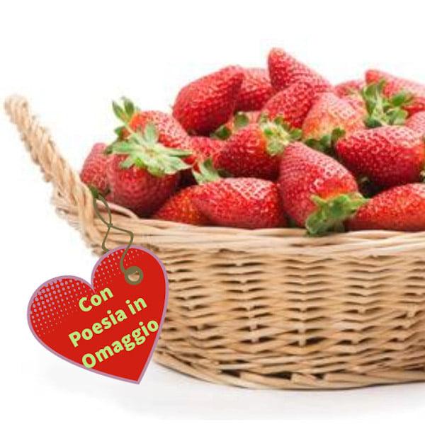 consegna cesto con fragole online e poesia in omaggio online