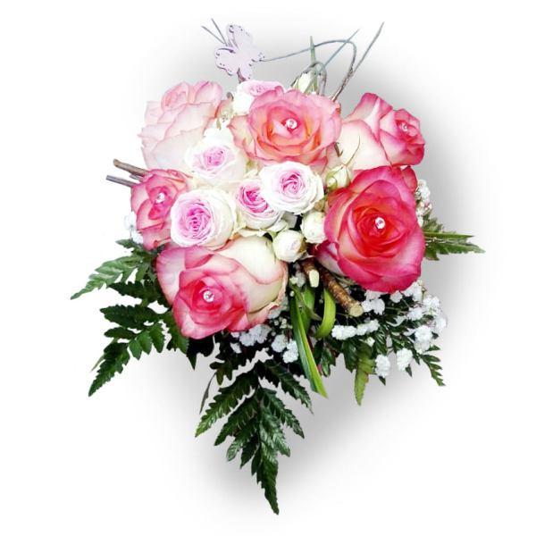 Bouquet con rose rosa e punto luce con nebbiolina online